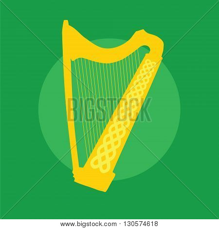 Silhouette of Celtic Harp with ornament on green background. Vector Illustration