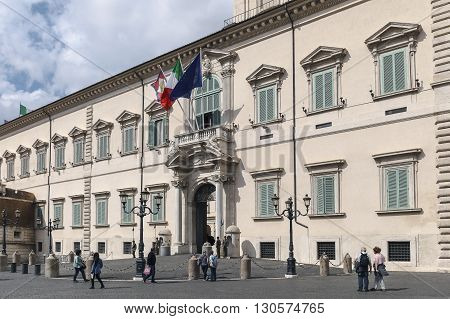 Rome Italy - May 19 2016: Piazza del Quirinale the main entrance to the Quirinal Palace the institutional headquarters and residence of the President of the Republic.