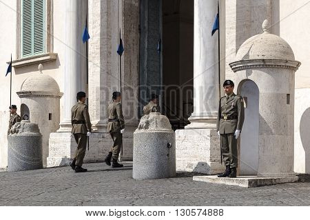 Rome Italy - May 19 2016: Piazza del Quirinale changing of the guard of soldiers at the entrance of the Quirinale the institutional headquarters and residence of the President of the Republic.