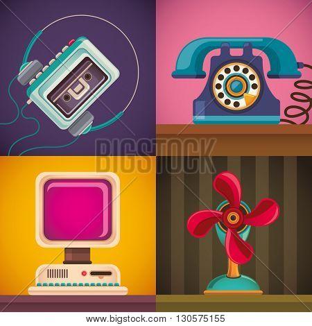 Set of retro objects illustration. Vector illustration.