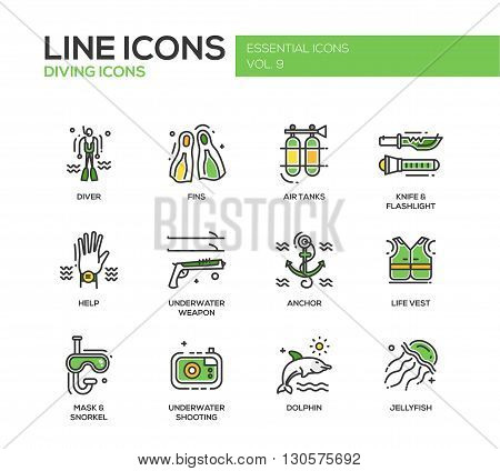 Set of modern vector line design icons and pictograms of scuba diving objects and equipment. Diver, fins, air tanks, help, weapon, life vest, jellyfish, dolphin, mask, knife, flashlight