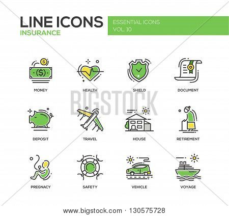 Set of modern vector line design icons and pictograms of types and kinds of insurance. Health, money, document, shield, deposit, travel, house, retirement, pregnancy, safety, vehicle, voyage