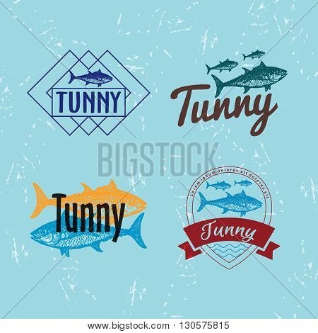 Vector colourful logo set with tuna fish. The tuna as main element of logotypes on blue background