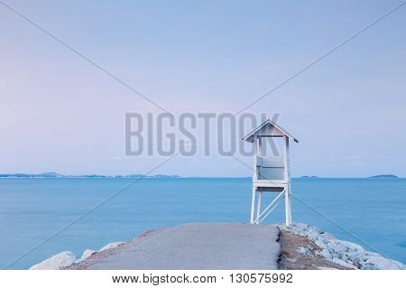 Lifeguard Tower on the sea port skyline background