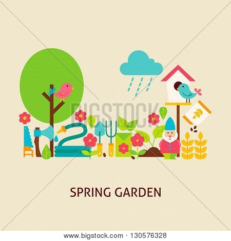 Spring Garden Concept. Flat Poster Design Vector Illustration. Collection of Nature Gardening Colorful Objects.