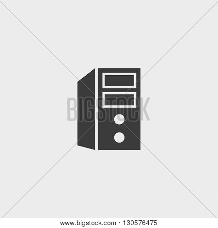 Icon computer system unit in a flat design in black color. Vector illustration eps10