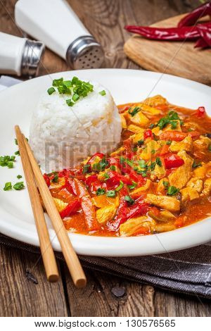 Chinese Chicken With Vegetables And Rice.