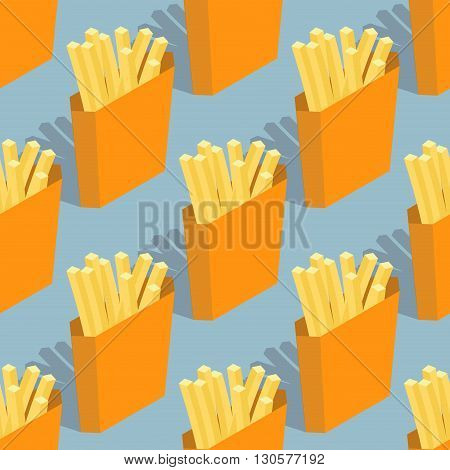 French Fries Seamless Pattern. Sliced ​​potatoes In Paper Box. Fast Food Background. Delicious Fryin