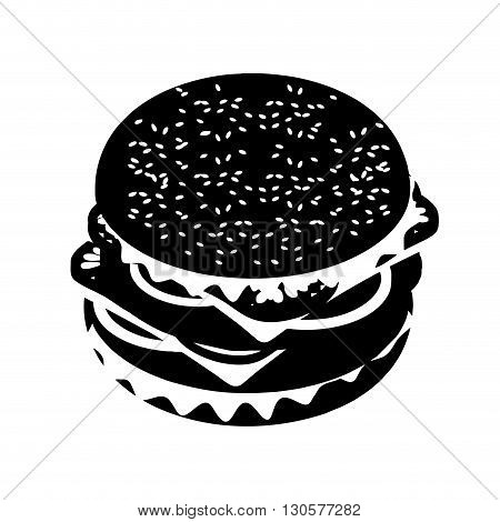 Hamburger Silhouette Sign. Fast Food In Flat Style. Sandwich Of Patties And Cut Roll. Fresh Juicy Fo