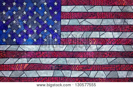 United States Of America Flag Zentangle Doodle Grunge Background