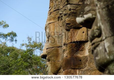Face in the Bayon temple in Angkor Thom, Cambodia