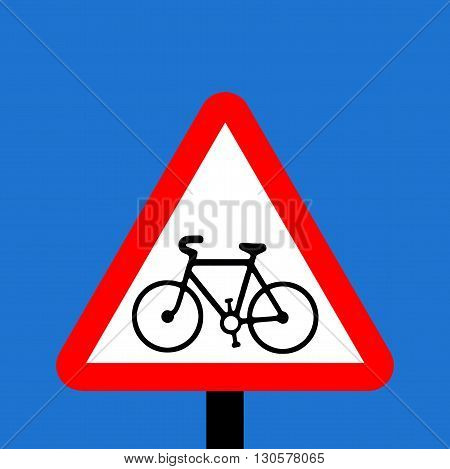 A Warning triangle Cycle route ahead sign