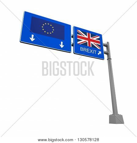 Brexit Highway Sign isolated on white background. 3D render