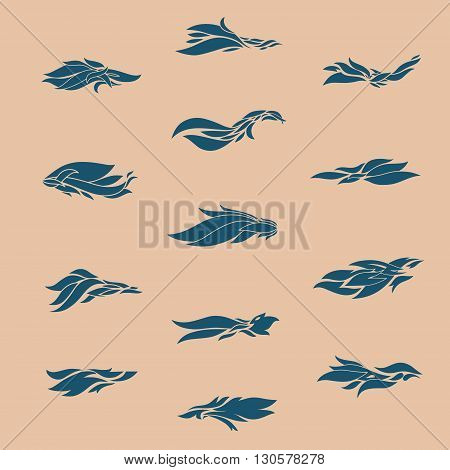 vector collection of different tribal flame design elements, good for tattoo