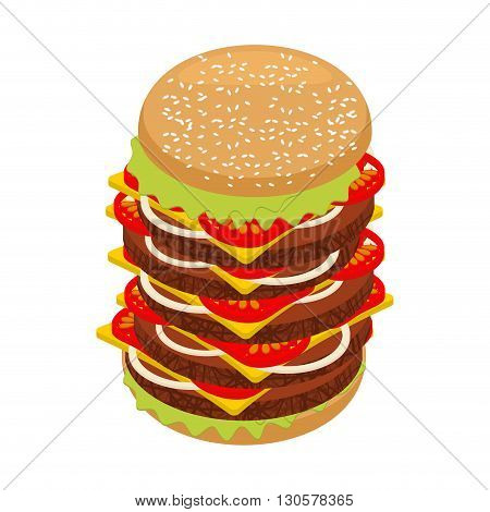 Very Large Hamburger. High Juicy Tall Burger. Huge Sandwich Patties And Cut Roll. Big Fresh Juicy Fo