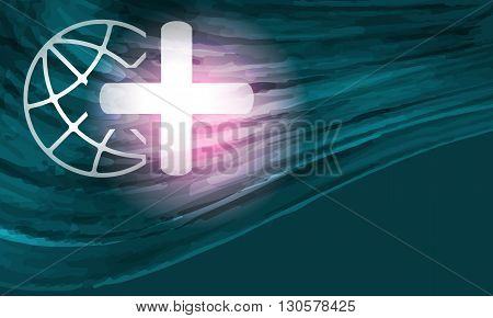 Colored vector background with abstract pattern and globe and plus symbol