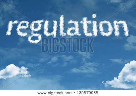 Regulation cloud word with a blue sky