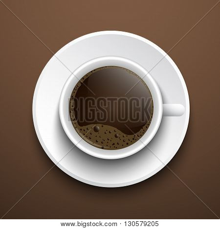 Vector cup top view. Cup of coffee with foam. The cup stands on a brown background on a saucer.