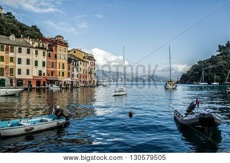 Portofino, Italy - November 18, 2015: Beautiful Views Of The Bay of Portofino with Motorboat and Yacht