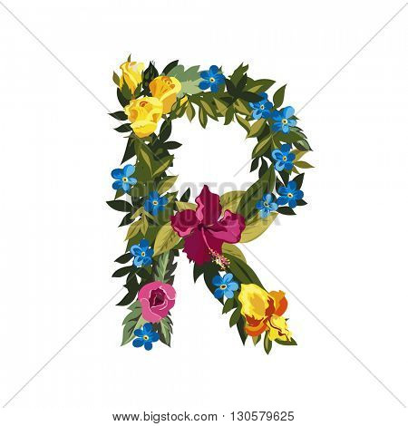R letter. Flower capital alphabet. Colorful font. Uppercase. Vector illustration. Grotesque style. Floral alphabet.
