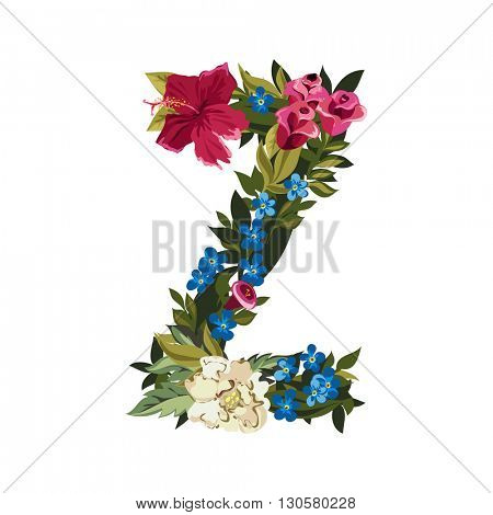 Z letter. Flower capital alphabet. Colorful font. Uppercase. Vector illustration. Grotesque style. Floral alphabet.