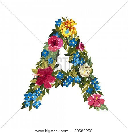 A letter. Flower capital alphabet. Colorful font. Uppercase. Vector illustration. Grotesque style. Floral alphabet.