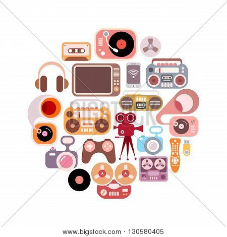 Electronic icons in the circle shape. Colorful flat vector images isolated on a white background.