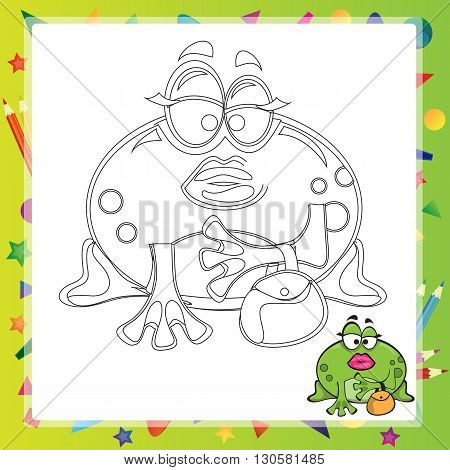 illustration of Cartoon frog - Coloring book - vector