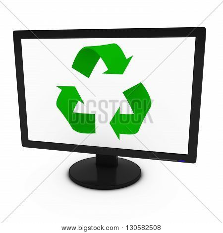 Green Recycling Symbol on Computer Screen - Isolated on White - 3D Illustration