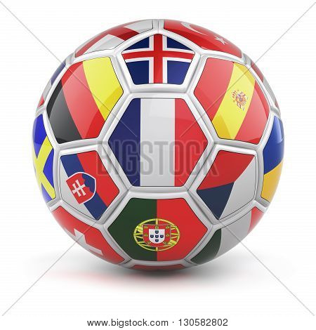 Soccer ball with flags of qualified nations teams for Euro 2016 and french flag in the front - 3D illustration