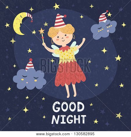 Good night card with a cute fairy and sleepy clouds. Vector illustration