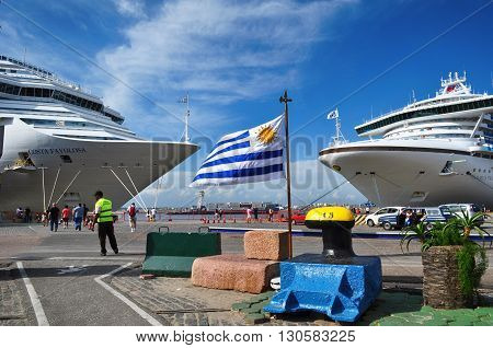MONTEVIDEO, URUGUAY - JANUARY 7, 2015: Two cruise ships Costa Favolosa and Golden Princess moored at Montevideo port. January 7, 2015 Montevideo, Uruguay, South America
