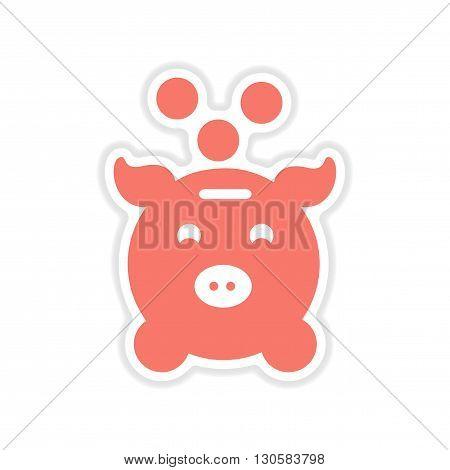 paper sticker on white  background money box