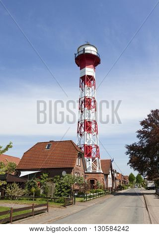 Gruenendeich Oberfeuer lighthouse, Altes Land, Lower Saxony