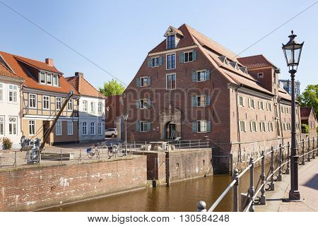 The Schwedenspeicher, a historic warehouse at the old town of Stade, Lower Saxony, Germany
