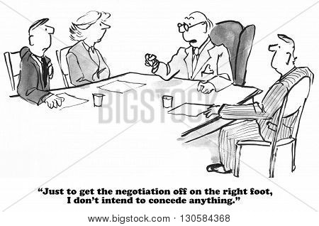 Business cartoon of a meeting and man who will not concede any points at the negotiation.