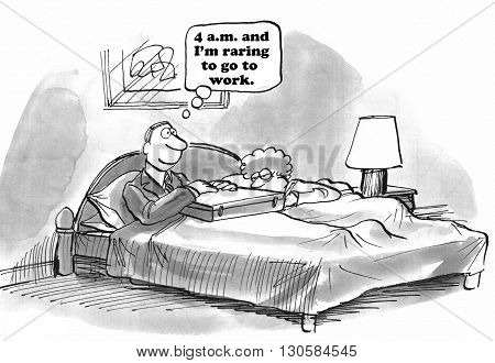 Business cartoon about a businessman who loves his job.