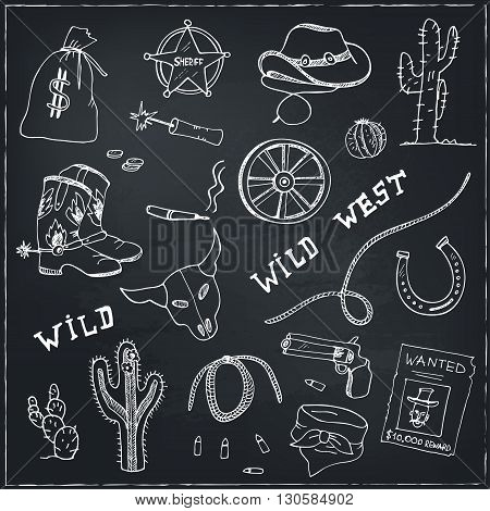 Hand drawn wild west set. Sketches. Hand-drawing. Vector illustration of for design and packages product.