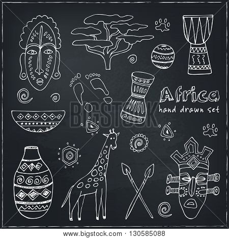 Africa sketch icons set.  Isolated vector illustration