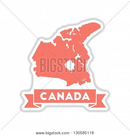 paper sticker on white  background Canada map