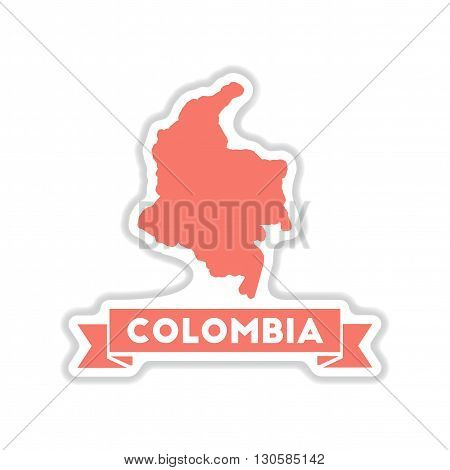 paper sticker on white  background Columbia card