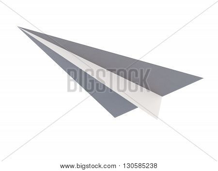 Paper airplane origami bottom view isolated on white background. 3d rendering.