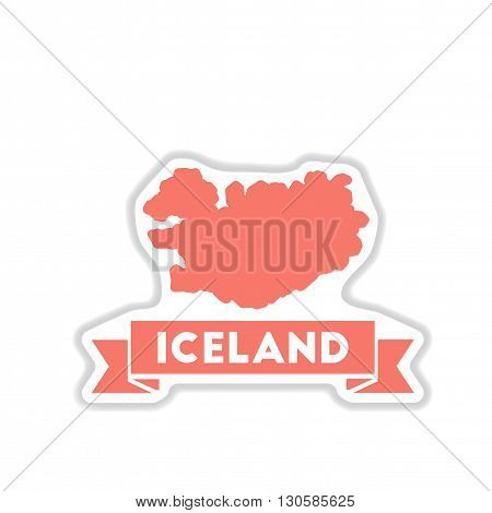 paper sticker on white  background Iceland map