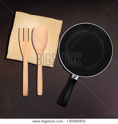 Pan and wooden spoon and fork for your design