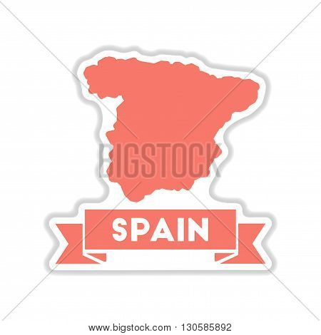 paper sticker on white  background map of Spain