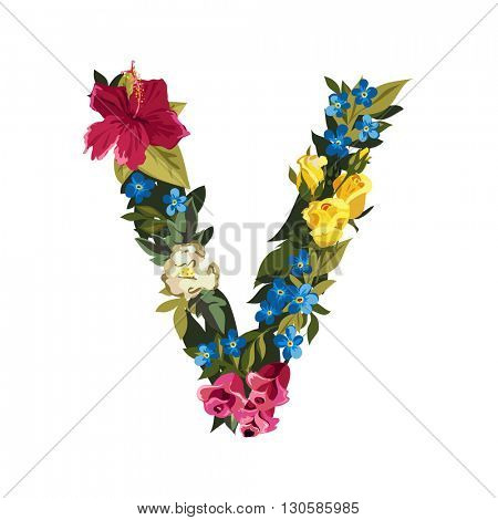 V letter. Flower capital alphabet. Colorful font. Uppercase. Vector illustration. Grotesque style. Floral alphabet.