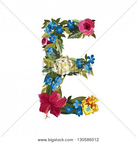 E letter. Flower capital alphabet. Colorful font. Uppercase. Vector illustration. Grotesque style. Floral alphabet.