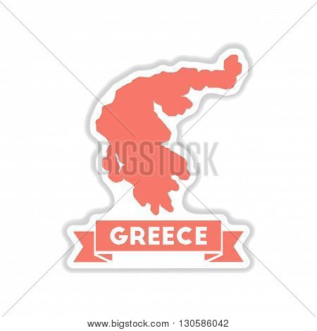 paper sticker on white  background Greece map