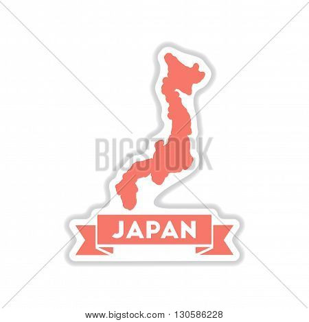 paper sticker on white  background Japan map