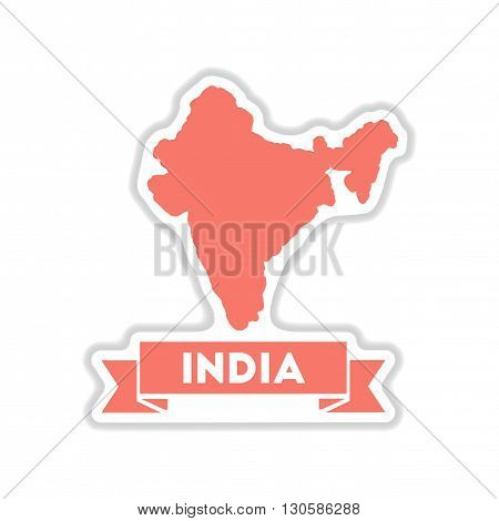paper sticker on white  background India map